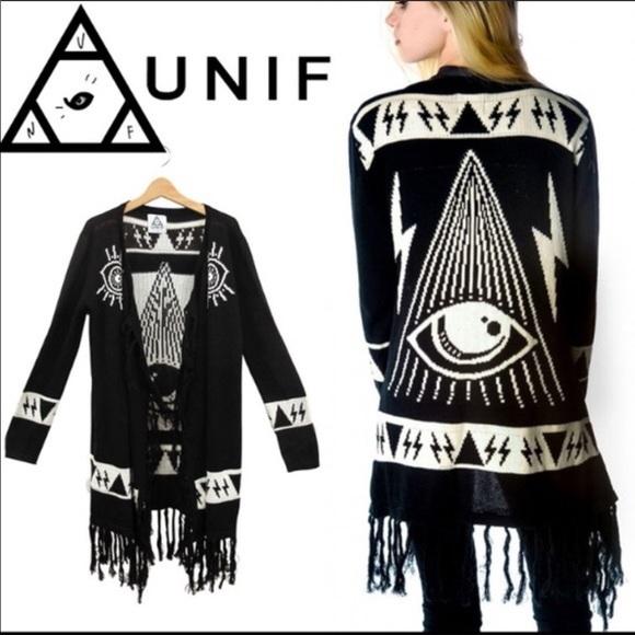 UNIF   Psychic Poncho Fringe Cardigan Sweater